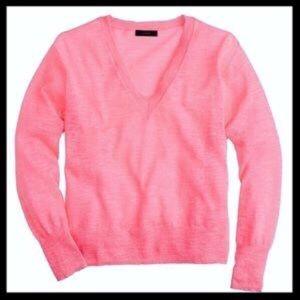 J. Crew Marled Linen V-Neck Sweater